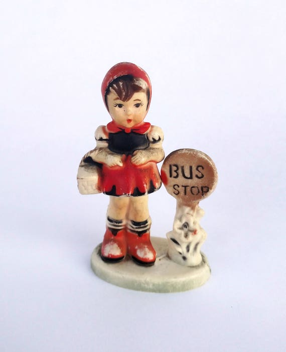 Vintage 1960's Figurine of Little Girl at Bus Stop