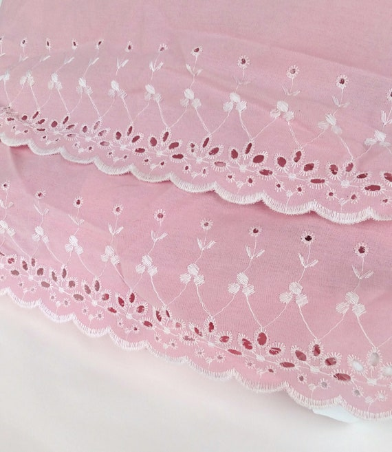 Set of 2 Vintage 1960's Pink Eyelet Twin Size Dust Ruffles by Lady Pepperell