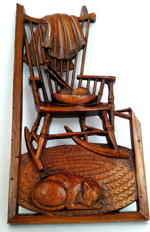 Astounding Vintage Burwood Wall Art Of Rocking Chair With Bowl Of Yarn Knitting Needles Blanket And Sleeping Cat Ibusinesslaw Wood Chair Design Ideas Ibusinesslaworg