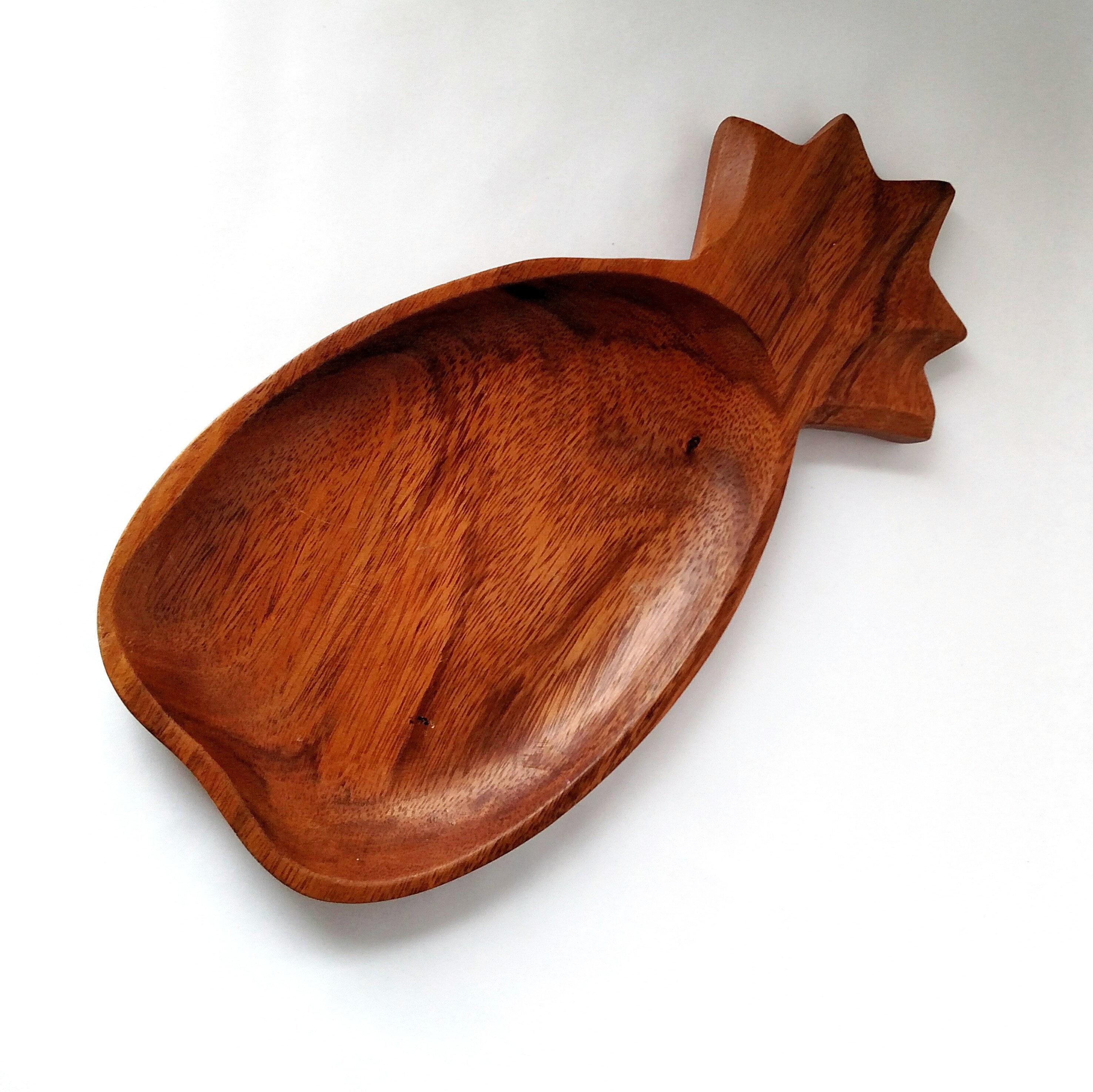 Vintage Retro Tiki Monkeypod Wood Pineapple Tray