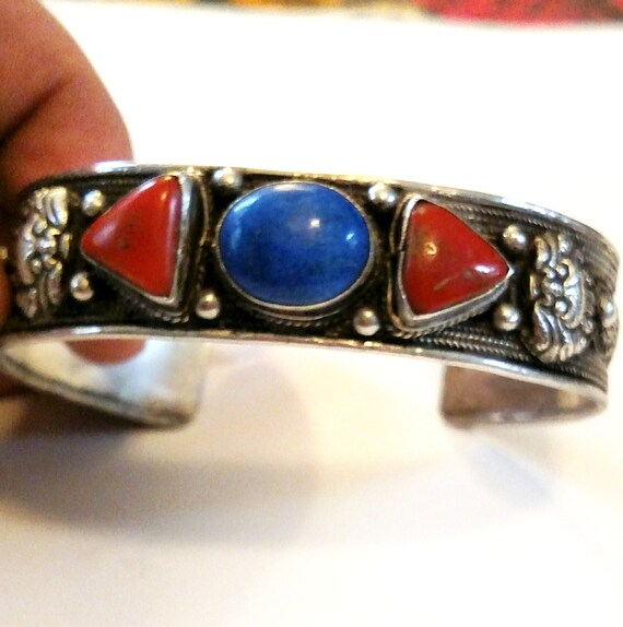 Vintage 1970s Pewter, Lapis and Coral Cuff Bracelet from Nepal