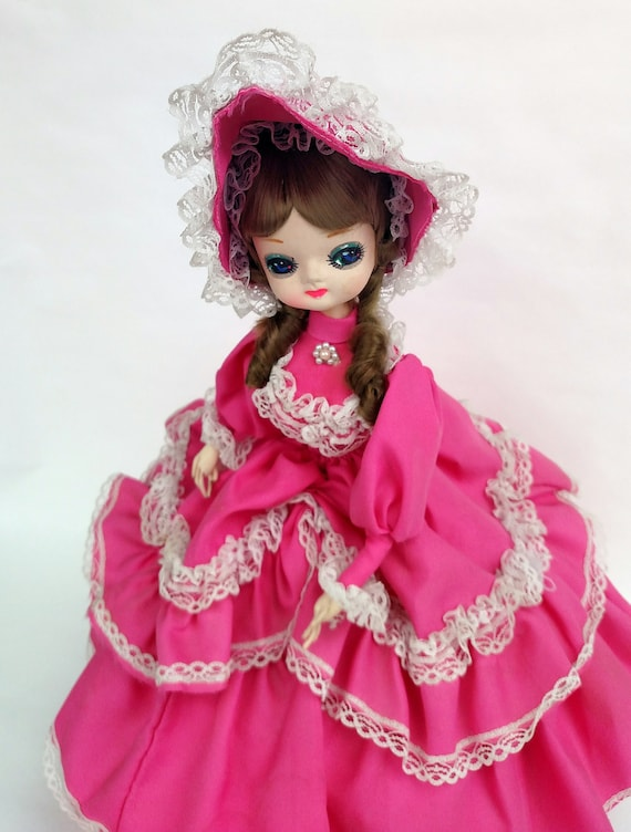 Vintage 1978 Big Eyed Southern Belle in Hot Pink Dress and Bonnet Doll by Bradley