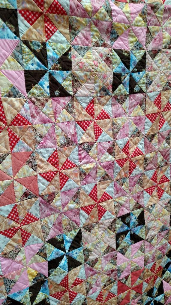 Vintage Colorful Handmade Pinwheel Patchwork Quilt 82 x 100