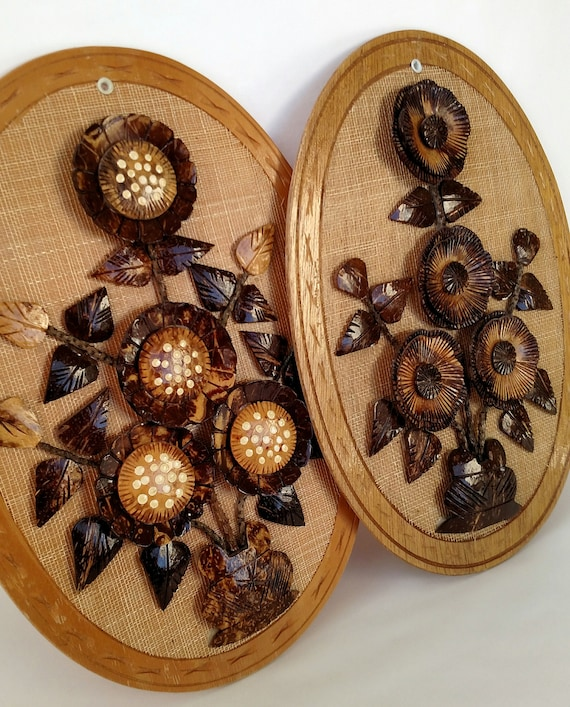 Set of 2 Vintage Boho Chic Coconut, Natural Fiber and Wood Wall Plaques