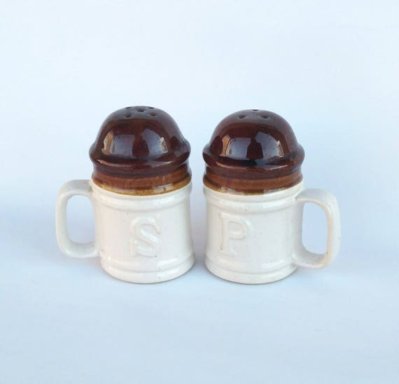 Vintage 1970's Brown Drip and Speckeware Ceramic Oversized Salt and Pepper Shaker Mugs