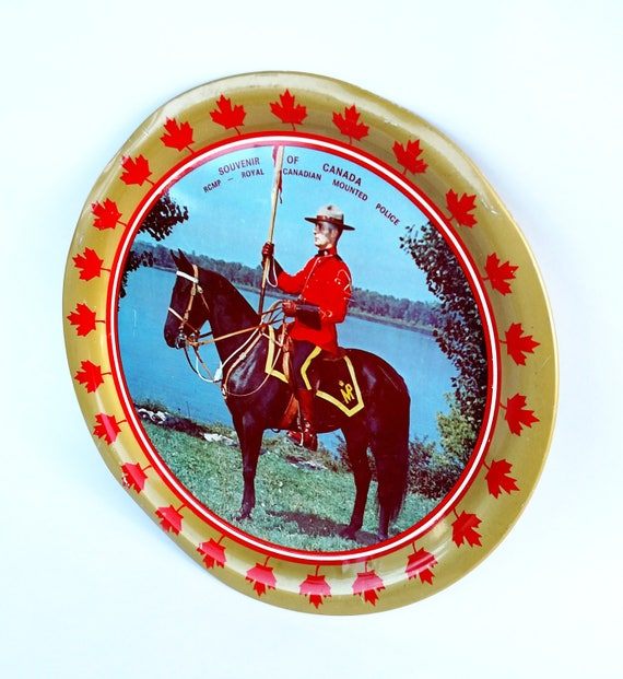 Vintage Royal Canadian Mounted Police Souvenir Metal Tray