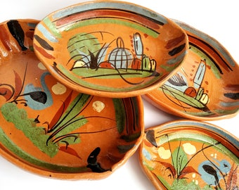 Set of 4 Vintage Painted Terracotta Pottery Cazuela Dishes from Mexico