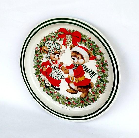 Vintage 1984 Kitschy Cute Christmas Bear Tin Tray