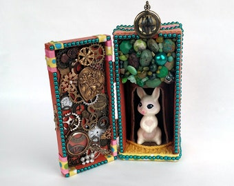 One of a Kind Alice in Wonderland White Rabbit Mixed Media Altar Box