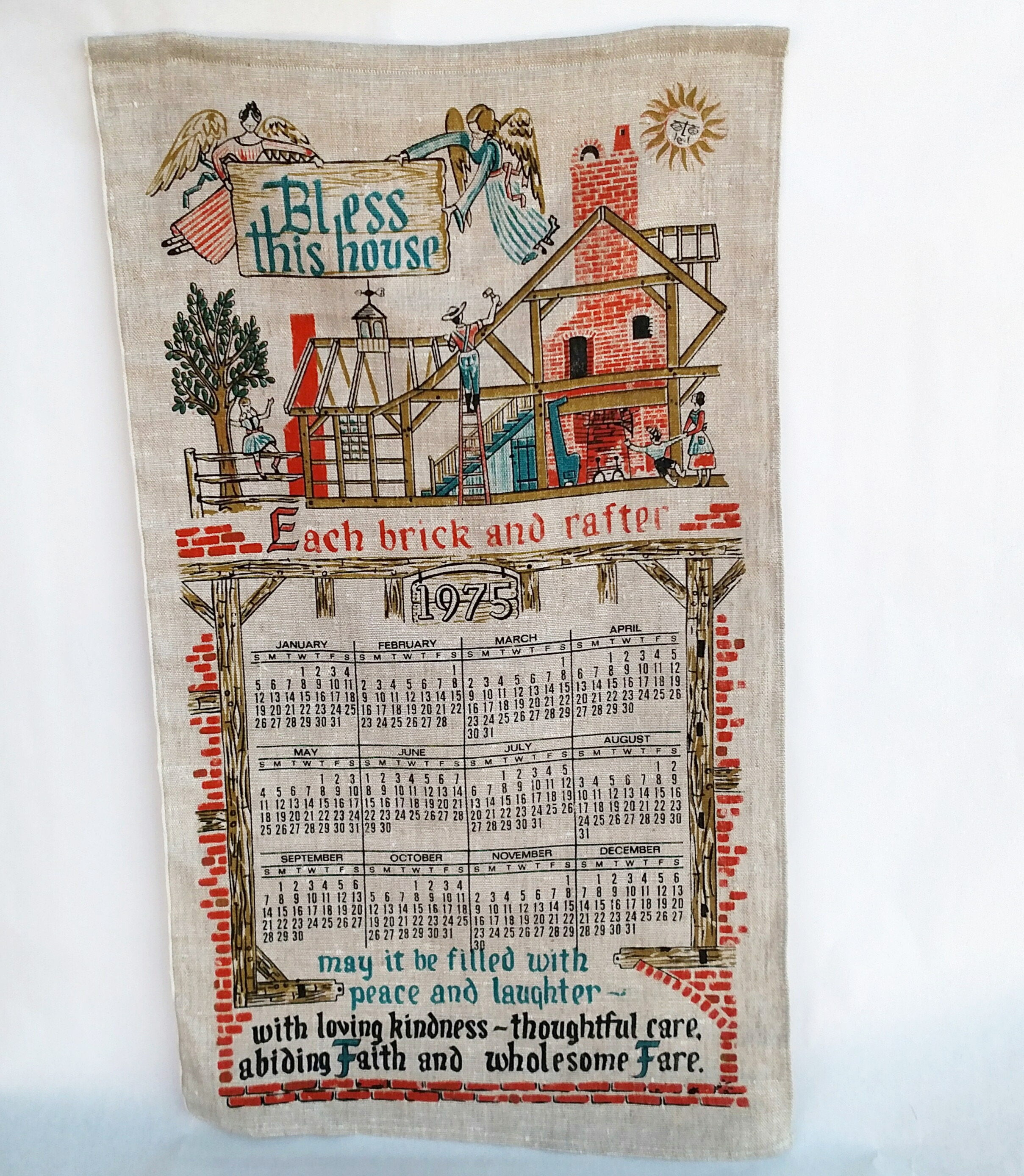Vintage 1975 Linen Tea Towel Calendar Bless This House Each Brick