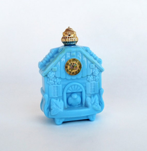 Vintage Blue Milk Glass Cuckoo Clock Bottle by Avon for Roses, Roses Cologne Perfume