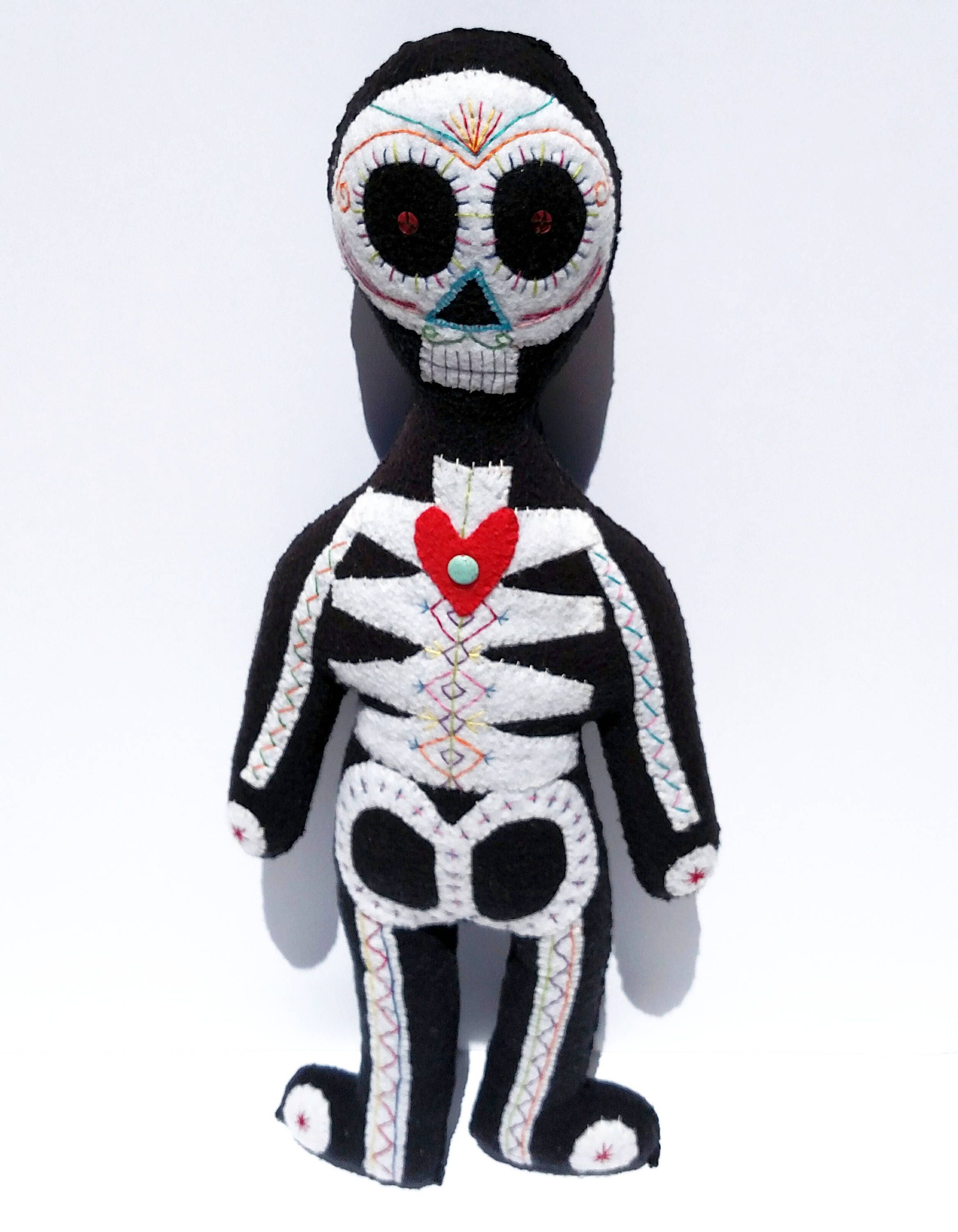 Day Of The Dead Hand Tattoo: Day Of The Dead Skeleton Doll Hand Sewn One Of A Kind