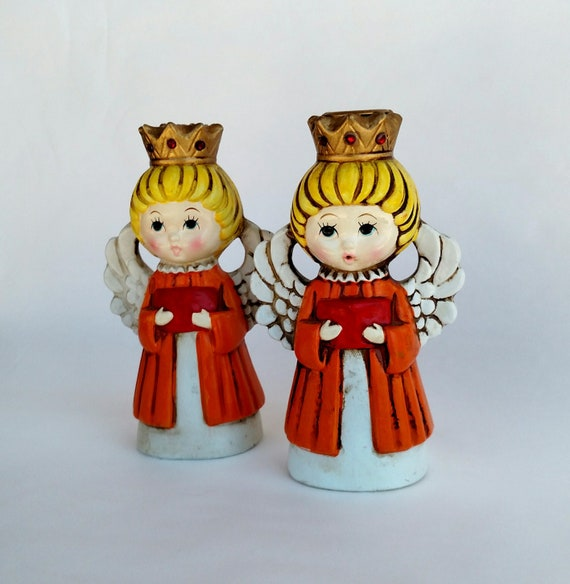 Vintage Retro Kitschy Colorful Angel Candle Holder Set by Homco