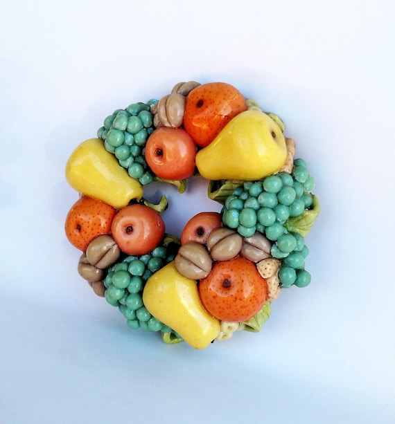 Vintage 1970's Pastel Fruit Wreath made from Bread Dough Clay