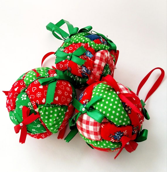 Set of 3 Vintage Colorful Patchwork Quilted Ornaments