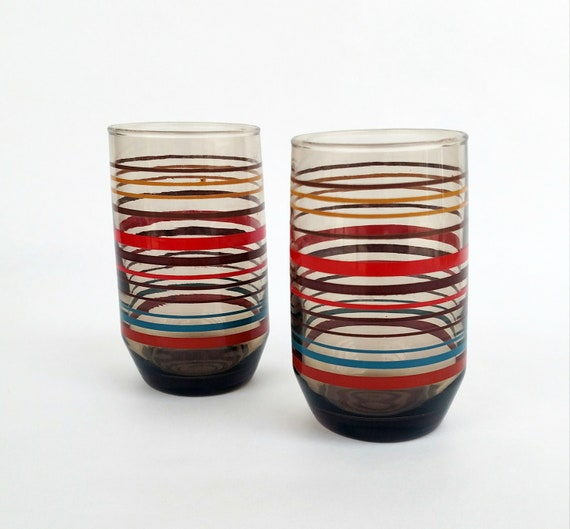 Vintage Mid Mod Multi Colored Striped Juice Glasses