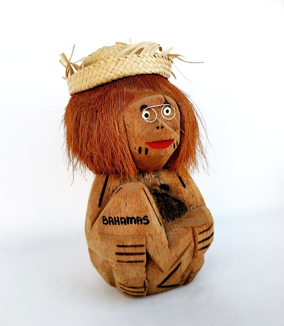 Vintage 1960's Coconut Monkey Coin Bank with Glasses and Straw Hat