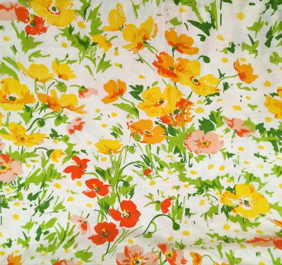 Vintage Spring Floral Twin Flat Sheet in Orange, Yellow, Pink and Green by Lady Pepperell