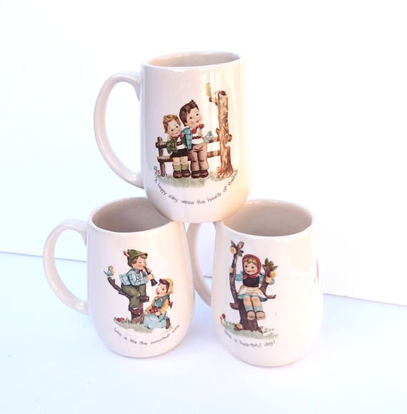 Vintage 1984 Super Cute and Kitschy Ceramic Mug Set by Betty with Children's Illustrations