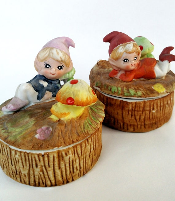 Set of 2 Vintage Porcelain Boxes with Pixie Elves on Tuffets with Mushrooms by Homco