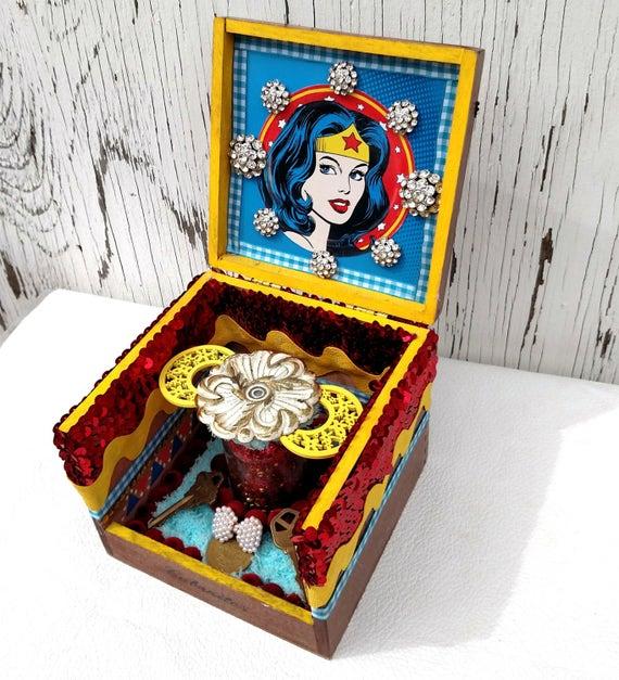 Wonder Woman Cigar Box Altar Shrine