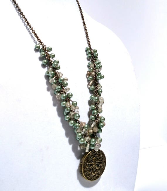Octopus Locket Necklace with Green Pearls and Chunky Glass Beads