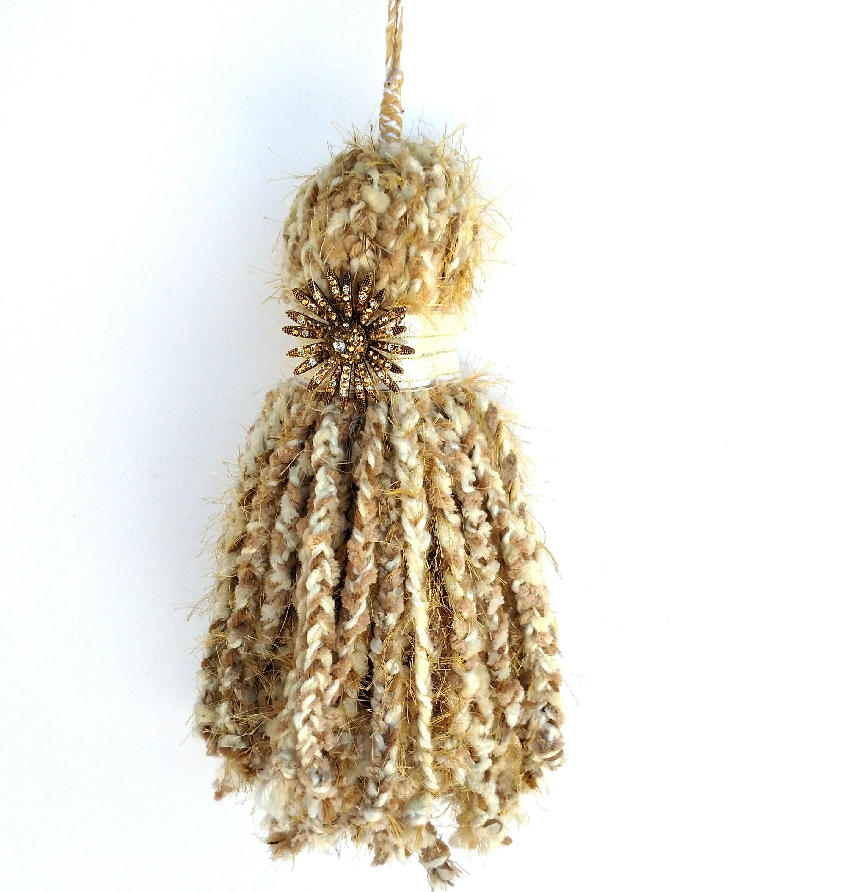 Giant Over Sized Braided Chenille Yarn Tassel in White and