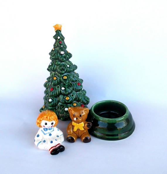 Vintage 1970's Avon Christmas Tree Hostess Set in Original Box - Includes Tree, Dish and Salt and Pepper Shakes
