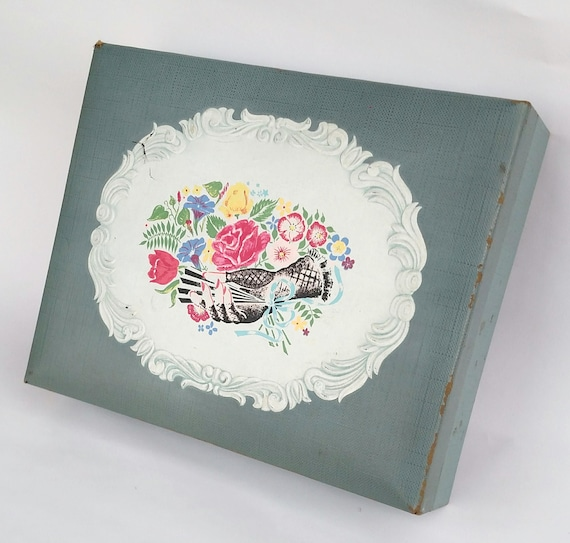 Vintage 1950's Old South Perfume Gift Box Featuring Embossed Seal with Gloved Hand Holding Colorful Bouquet