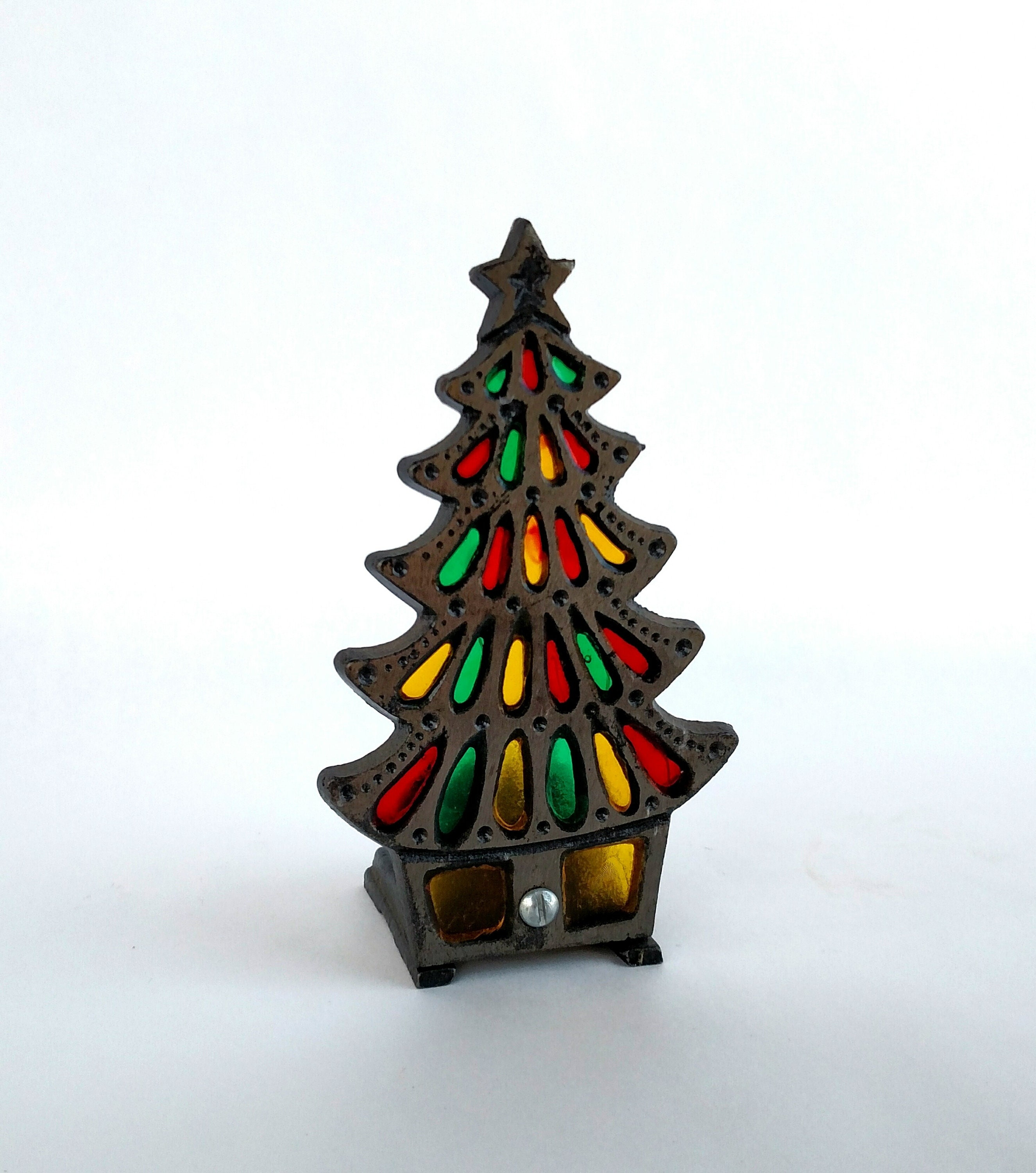 Vintage 1960\'s Stained Glass and Wrought Iron Christmas Tree Candle ...