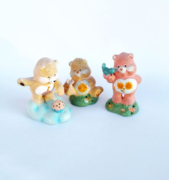 Set of 3 Vintage 1983 Care Bear Figurines Including Funshine Bear, Friend Bear and Birthday Bear by American Greetings