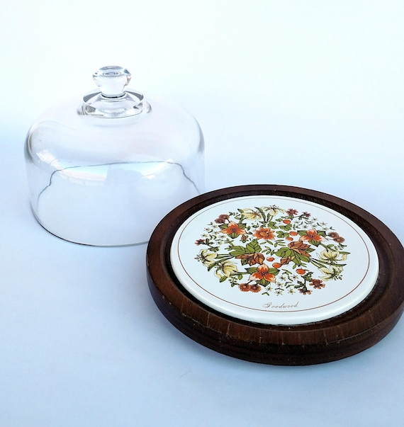 Vintage 1970's Glass Dome Cloche and Floral Ceramic and Wood Tray Set Set by Goodwood