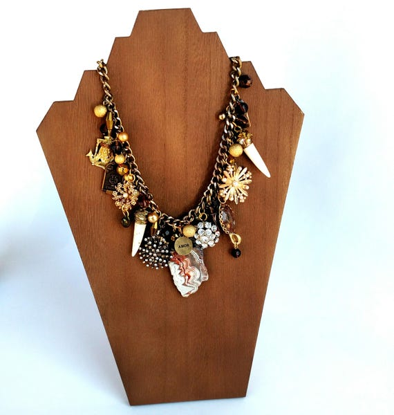 One of a Kind Assemblage Necklace in Gold, Bronze and Rust with Jasper, Agate, Recycled Vintage Jewelry and Charms