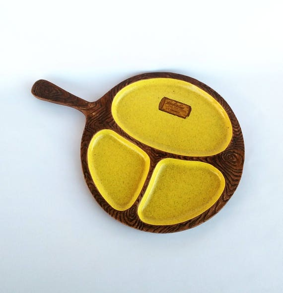 Vintage 1960's Woodgrain and Yellow Speckleware Ceramic Tray