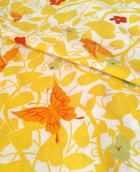 Vintage Full Size Flat Sheet in Yellow, Orange and Green with Floral and Butterfly by Morgan Jones