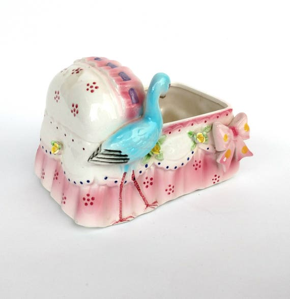 Vintage Pink Cradle Planter Container with Blue Stork - by Enesco