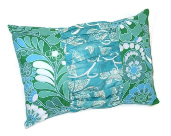 Turquoise Green White Decorative Ruched Pillow