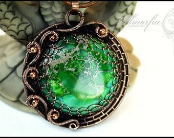 Green sea sediment jasper and solid copper wire pendant