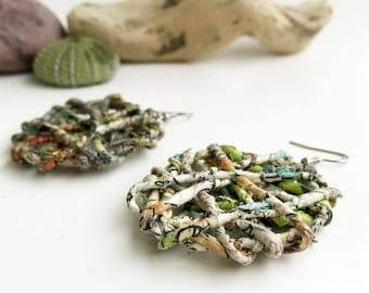 Upcycled paper earrings | Paper anniversary eco friendly jewelry gift | Recycled newspaper sustainable earrings | Paper art green earrings