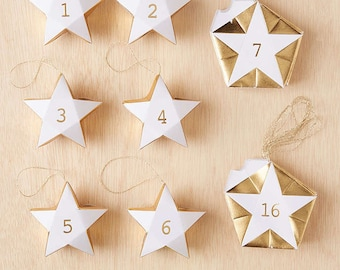 New Star Advent Calendar Garland Gold white numbered countdown