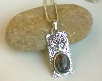 Rectangular Tree of Life Sterling Silver Pendant with Ocean Jasper