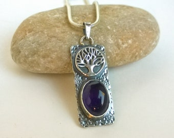 Rectangular Tree of Life Sterling Silver Pendant with Amethyst