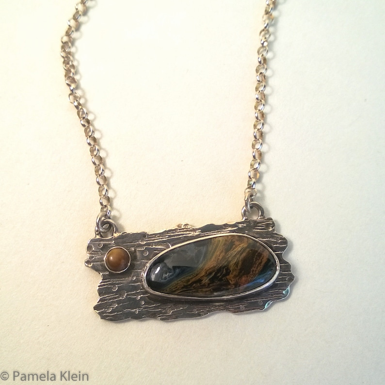 Pietersite and Tiger Eye Wood Grain Pendant with Chain