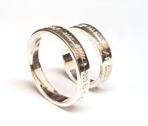 Wedding Ring Set With Ogham Engraving