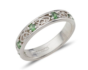 Celtic band Jenna with birthstones in sterling silver