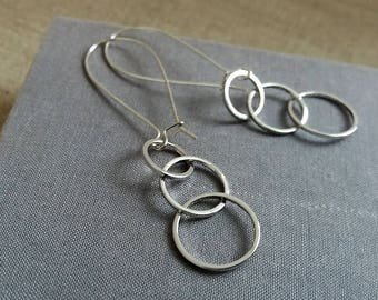 Silver Three Circles Earrings. 3 Circles Earrings. Long Earrings. Geometric Earrings. Geo Jewellery. Minimalist Earrings