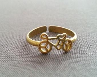 Bicycle Ring, Brass Ring, Boho Ring, Bike Ring, Raw Brass Ring, Adjustable Ring, Bicycle Jewelry