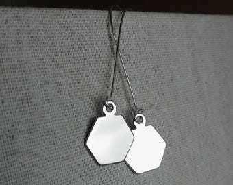 Sleek Hexagon Earrings. Geometric Earrings. Hex Pendant Earrings. Geo Earrings. Modern Trendy Hip