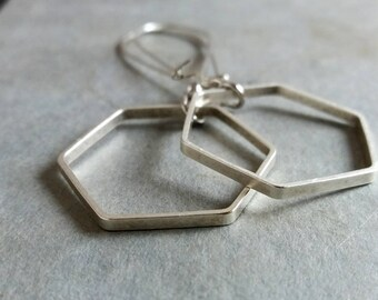 Silver Hexagon Earrings. Modern Earrings. Silver Hexagon Earrings. Geometric Earrings. Geo Jewellery. Large Geometric Earrings