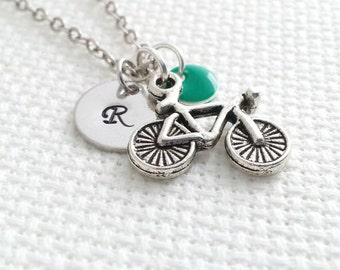 Initial Necklace. Bicycle Necklace. Silver Bike Necklace.  Personalized Gift. Hand Stamped. Monogram Necklace. Sport Jewelry